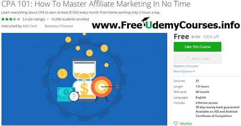 Cpa 101: How To Master Affiliate Marketing In No Time Udemy.