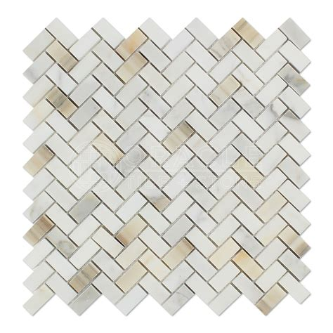 Calacatta Gold Marble Honed Mini Herringbone Mosaic Tile .