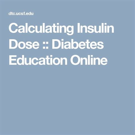 Calculating Insulin Dose :: Diabetes Education Online.