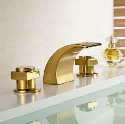 Campinas Gold Polished Led Waterfall Bathroom Sink Faucet.