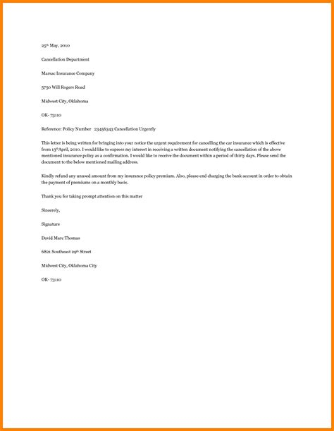 car insurance cancellation letter template uk