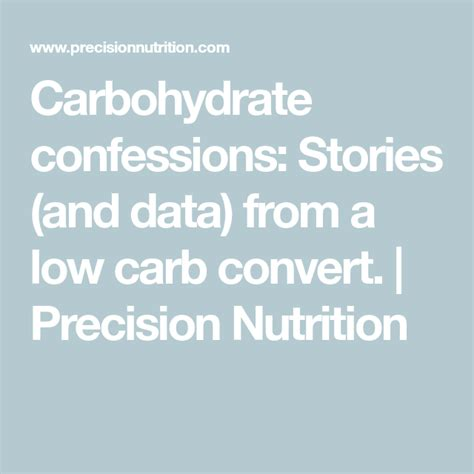 Carbohydrate Confessions: Stories (and Data) From A Low Carb.