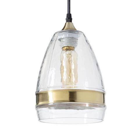Casamotion Hammered Glass Pendant Light With Brass Ring 1 .