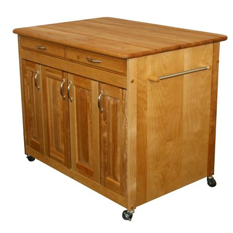 Catskill Craftsmen Natural Kitchen Cart With Butcher Block .