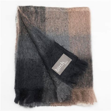 Charcoal White  Mink Check Mohair Throw  Simply Birch .