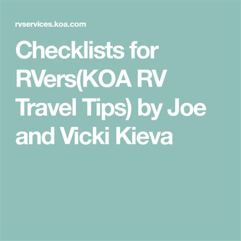 @ Checklists For Rvers - Rv Information Rv Travel Tips .