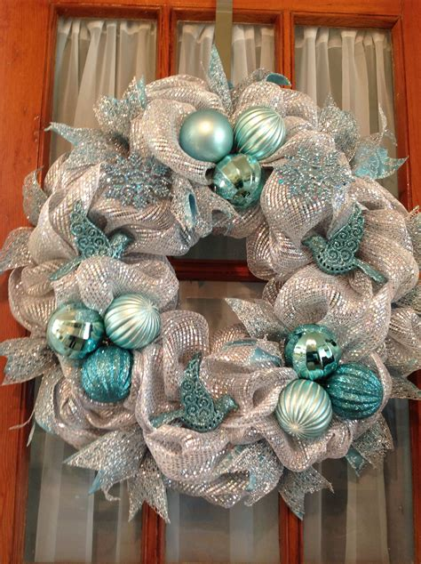 Christmas Deco Mesh Wreath Silver Sparkles Mesh By .