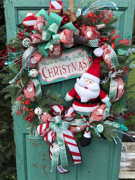 Christmas Wreath For Front Door Santa Claus Wreath Holly .
