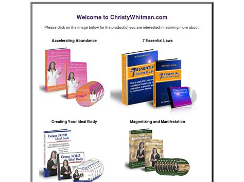 [click]christy Whitman   Law Of Attraction Products And Courses .