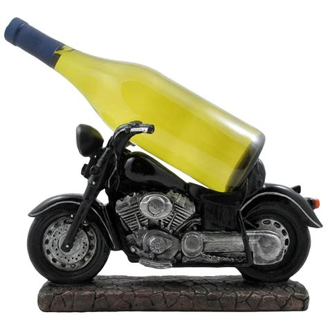 Classic Black Motorcycle Decorative Wine Bottle Holder Or .