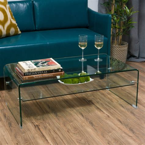Classon Glass Rectangle Coffee Table W Shelf   Gdf Studio.