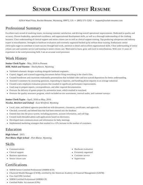 Clerk Typist Resume Sample Clerk Typist Resume