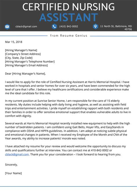 Cover Letter For Cna With Experience Cover Letter Templates – Sample Cover Letter for Medical Assistant