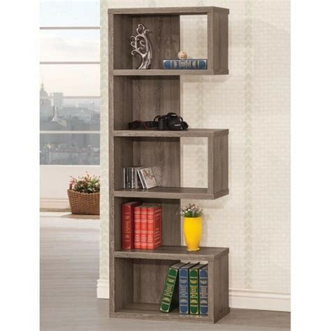 Coaster 800552 Weathered Grey Semi-Backless Bookcase .