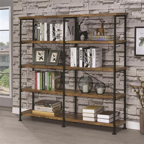 Coaster Barritt Wood And Metal Open Bookcase - Industrial .