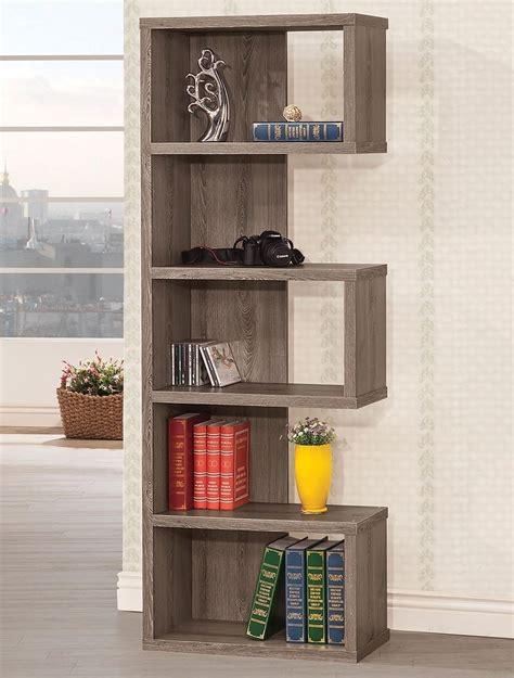 Coaster Furniture Weathered Grey Five Shelf Semi Backless .