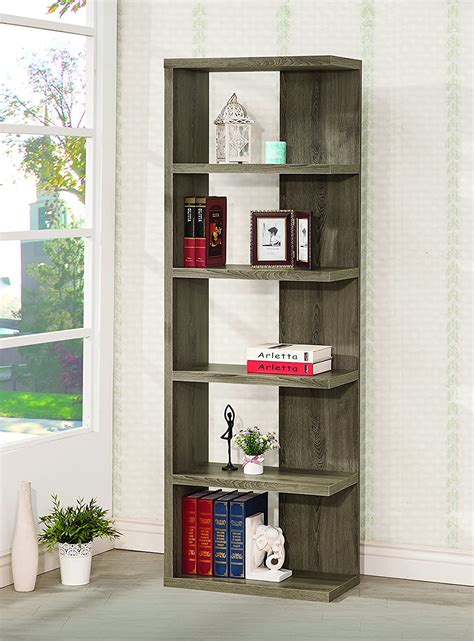 Coaster Home Furnishings 5-Tier Semi-Backless Bookcase .