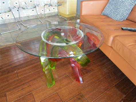Coffee Table Glass Top Multi Colored Legs