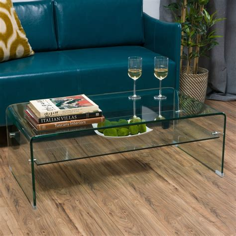 Coffee Tables  Classon Glass Rectangle Table With Shelf .