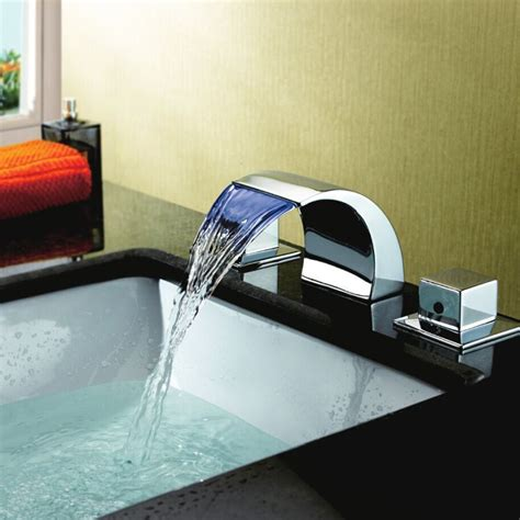 Color Changing Led Waterfall Widespread Bathroom Sink .