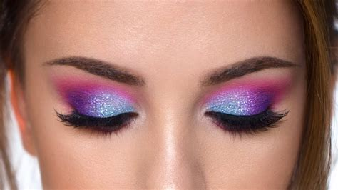 Colorful Glitter Smokey Eye Makeup Tutorial Purple , Teal And Pink.