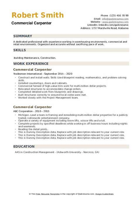 commercial carpenter resume examples - Carpenter Resume Sample