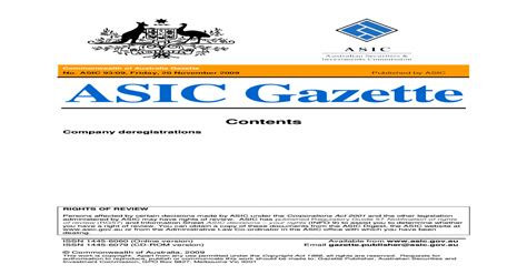 [pdf] Commonwealth Of Australia Asic Gazette.