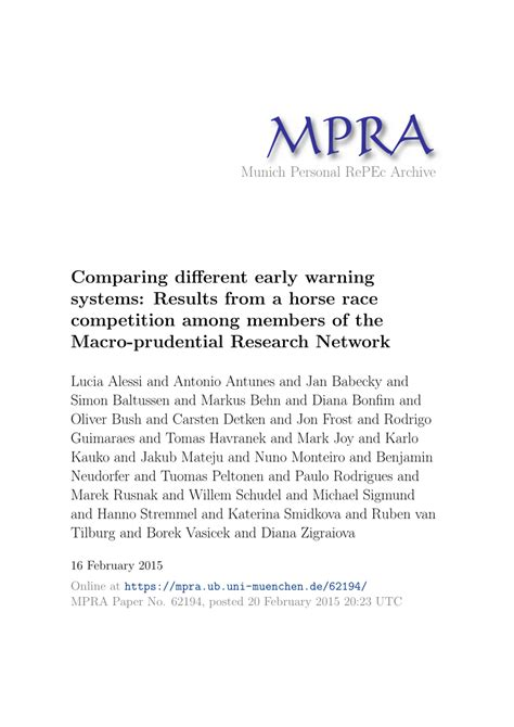 [pdf] Comparing Different Early Warning Systems Results From A .