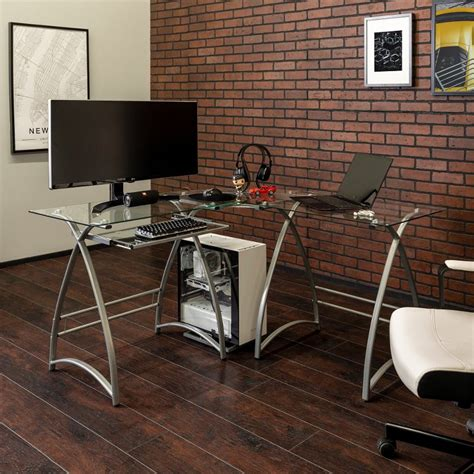 Computer Corner Desk Glass Wood