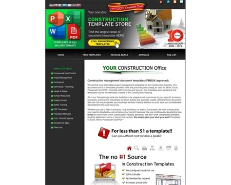 [click]construction Document Templates Store.