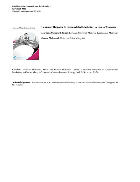 [pdf] Consumers Response To Cause-Related Marketing A Case .