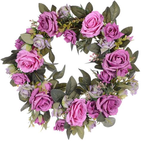 Coolmade Artificial Rose Flower Wreath - Door Wreath 14 .