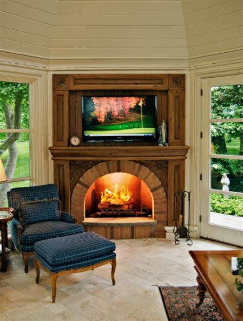 Corner Fireplace Designs With TV Above