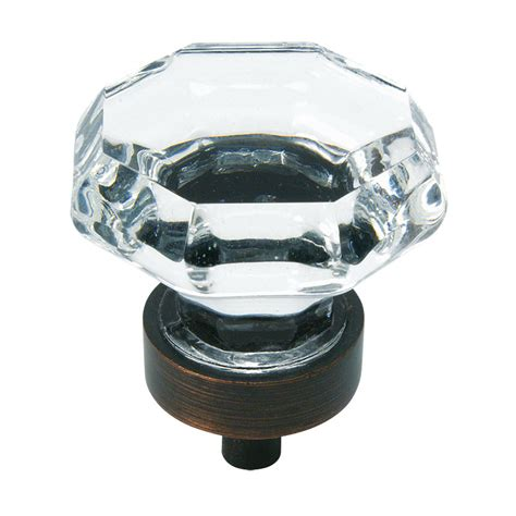 Cosmas 5268orb-C Oil Rubbed Bronze  Clear Glass Cabinet Knob.