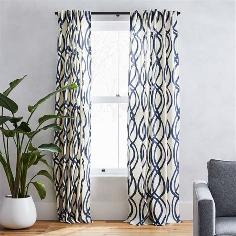 Cotton Canvas Scribble Lattice Curtains Set Of 2 .