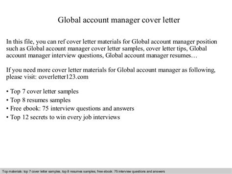 cover letter global account manager - Global Account Manager