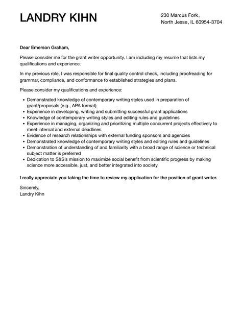 cover letter grant writer