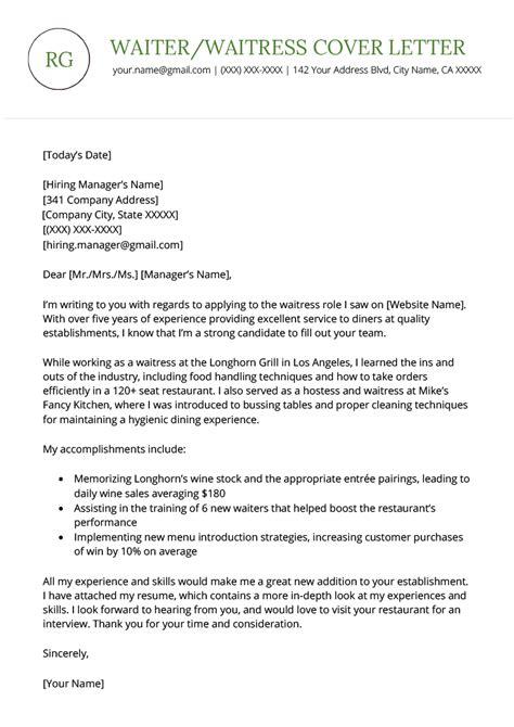 cover letter sample for waiter   job resume creatorcover letter sample for waiter