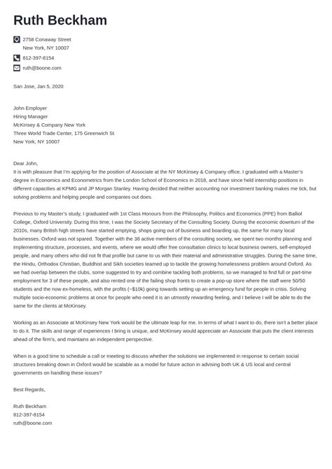 cover letter to mckinsey sample - Mckinsey Cover Letters