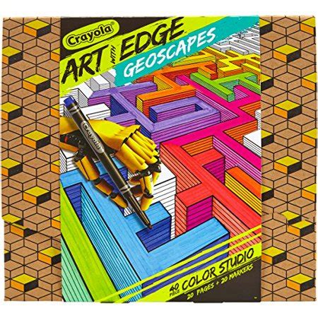 Crayola Art With Edge Studio Kit Geoscapes Coloring Book.