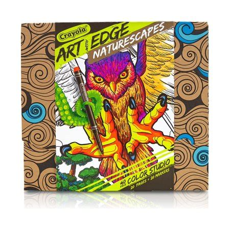 Crayola Art With Edge Studio Kit Naturescapes Coloring Book.