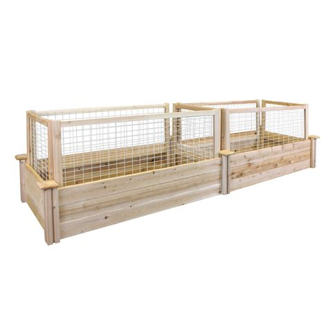 Critterguard Cedar Fence Set For 2ftx8ft Raised Bed .