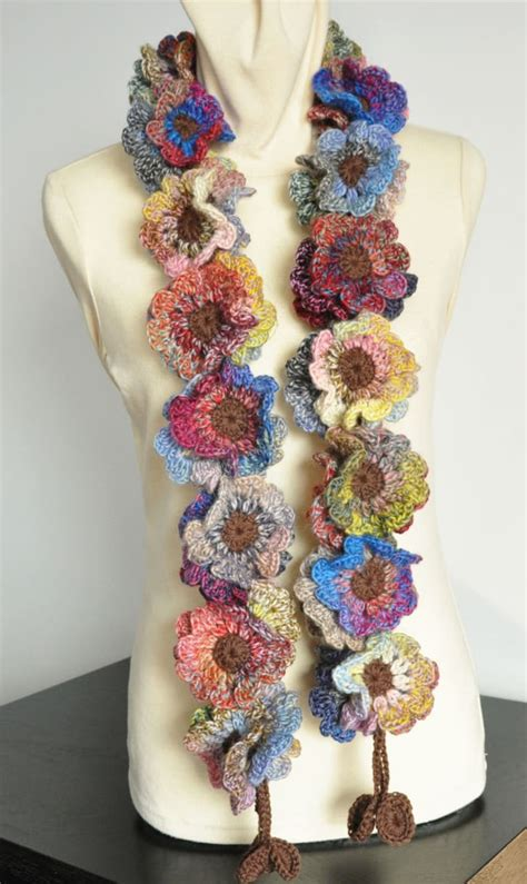 Crochet Flower Scarf Pattern