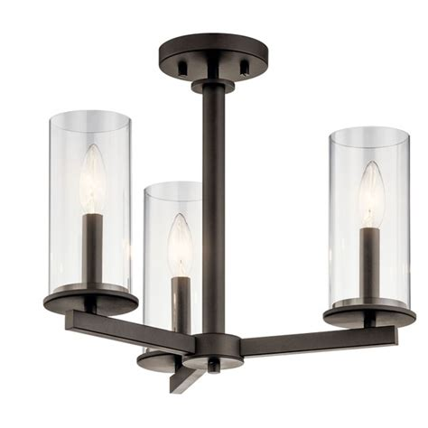 Crosby  3 Light Convertible Chandelier Olde Bronze .