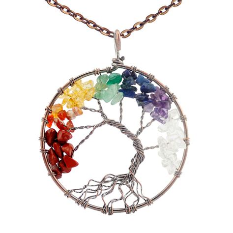 [click]crystal Chakra Tree Of Life Pendant  Necklace   Infinite .