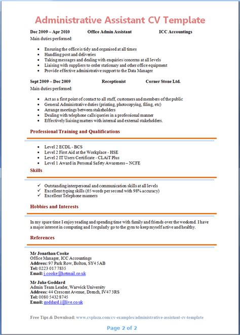 Sample Resume For Administrative Assistant Position  clerical