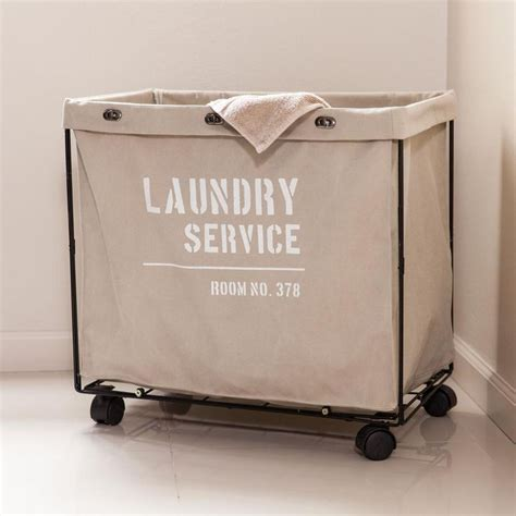 Danya B Army Canvas Laundry Hamper On Wheels-Ly207 - The .