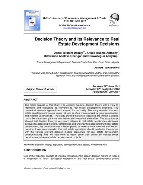 [pdf] Decision Theory And Real Estate Development.