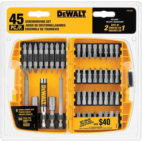 Dewalt Dw2166 45 Piece Screwdriving Set With Tough Case .