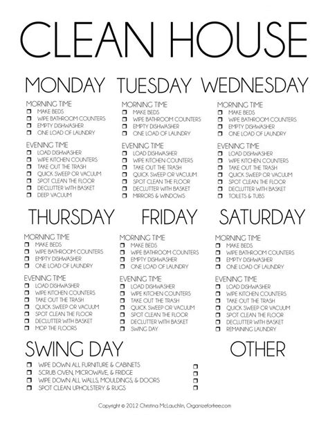 Daily Cleaning Checklist Day-To-Day Cleaning Routine - Molly Maid.